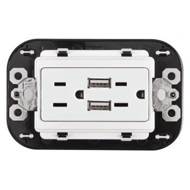 Contacto Duplex con entrada  para USB y Protección Infantil BTICINO 1